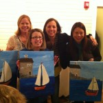 Ms. Purdin and some K moms at Sip & Paint!