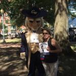 Ms. Purdin and GW's mascot, GW George!