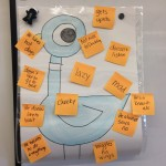 Children came up with words and phrases to describe the Pigeon after reading several Mo Willems books.
